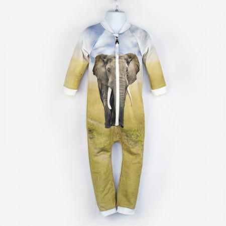 嬰兒長袖連身衣*UV Babysuit 大象 Elephant*Solamigos瑞典無毒