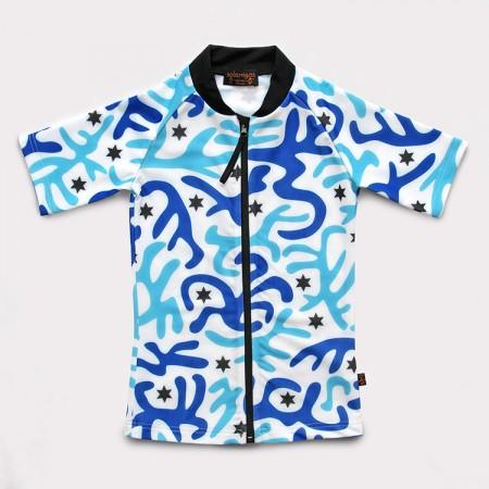 五分袖拉鍊上衣*UV Top Zip 迷彩藍 Camouflage Blue*