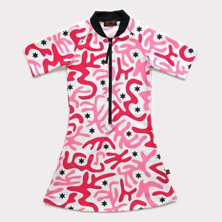 五分袖洋裝上衣*迷彩粉 Camouflage Pink*Solamigos無毒防曬衣