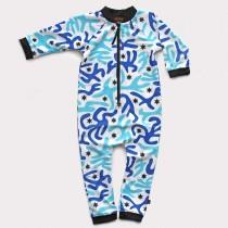嬰兒長袖連身衣*UV Babysuit 迷彩藍 Camouflage Blue*