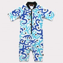 五分袖連身衣*Bodysuit 迷彩藍 Camouflage Blue*Solamigos
