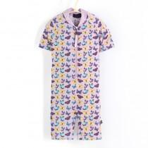 五分袖連身衣*Bodysuit 紫蝴蝶 Butterflies*Solamigos