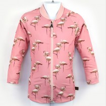 長袖拉鍊上衣(孩童&成人)*Top Zip long sleeve 紅鶴 Flamingos*